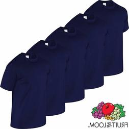 FRUIT OF THE LOOM 2,5,OR 10 PACK PLAIN NAVY T SHIRT TEE SHIR