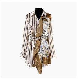 2019 Womens Designer Inspired Luxury Stripy and Scarf Style