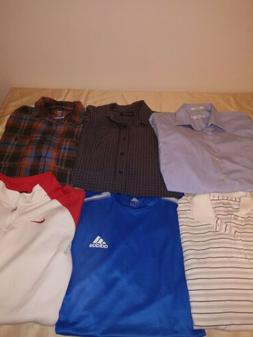 6 Men's Shirts, Flannel, Dress Shirts size Large