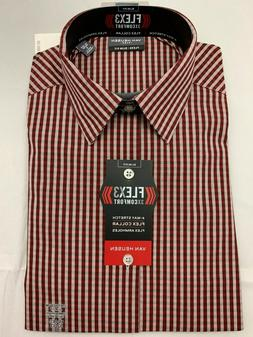 VAN HEUSEN $60 Chianti Plaid FLEX 3 Slim Fit Dress Shirt Men