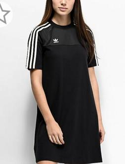 Adidas Stripe White Green/black Mesh T Shirt Dress New With
