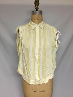 Free People Baby Blues Shirt OB571397 Ivory/Yellow XS, S  NW