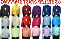 Big and Tall Dress Shirts - Solid Long Sleeve Button Down Sh