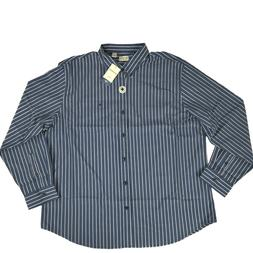 Docker's Men's XXL Long Estate Blue Striped Button-Down Shir