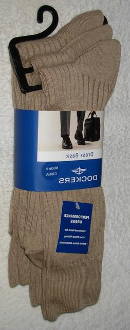 Dockers Men's 3 Pack Performance Dress Rib Socks, Khaki Marl