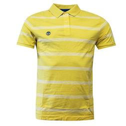 Timberland Earthkeepers Yellow Striped Cotton Mens Polo Top