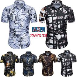 Fashion Men's Luxury Slim Fit Casual Shirts Short Sleeve For