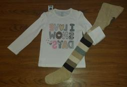 Baby Gap girl ivory shirt size 4 years, tights size 4-5 NWT