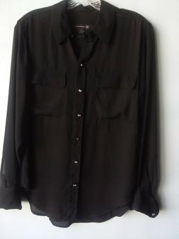 INC Size 6 Black Shirt Top Blouse for Women with Long Sleeve