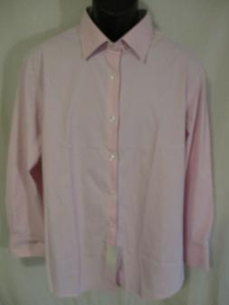 J.M. Haggar Cotton Blnd 17.5  Neck 32/33 Lt Pink Plaid Slim
