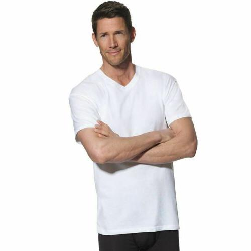 4-Pack Hanes FreshIQ TALL Men's V-Neck T-Shirts - White - LT