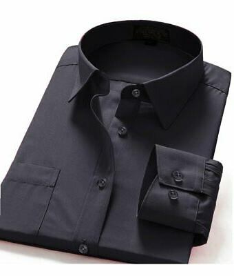 Dress Shirts Men's Fit Long One Pocket Solid Shirt