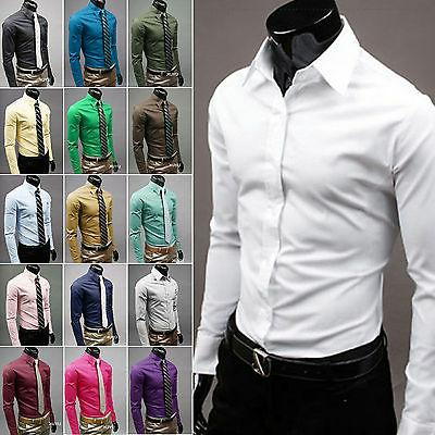 Mens Casual Slim Fit Long Sleeve Buttons Shirt Formal Busine