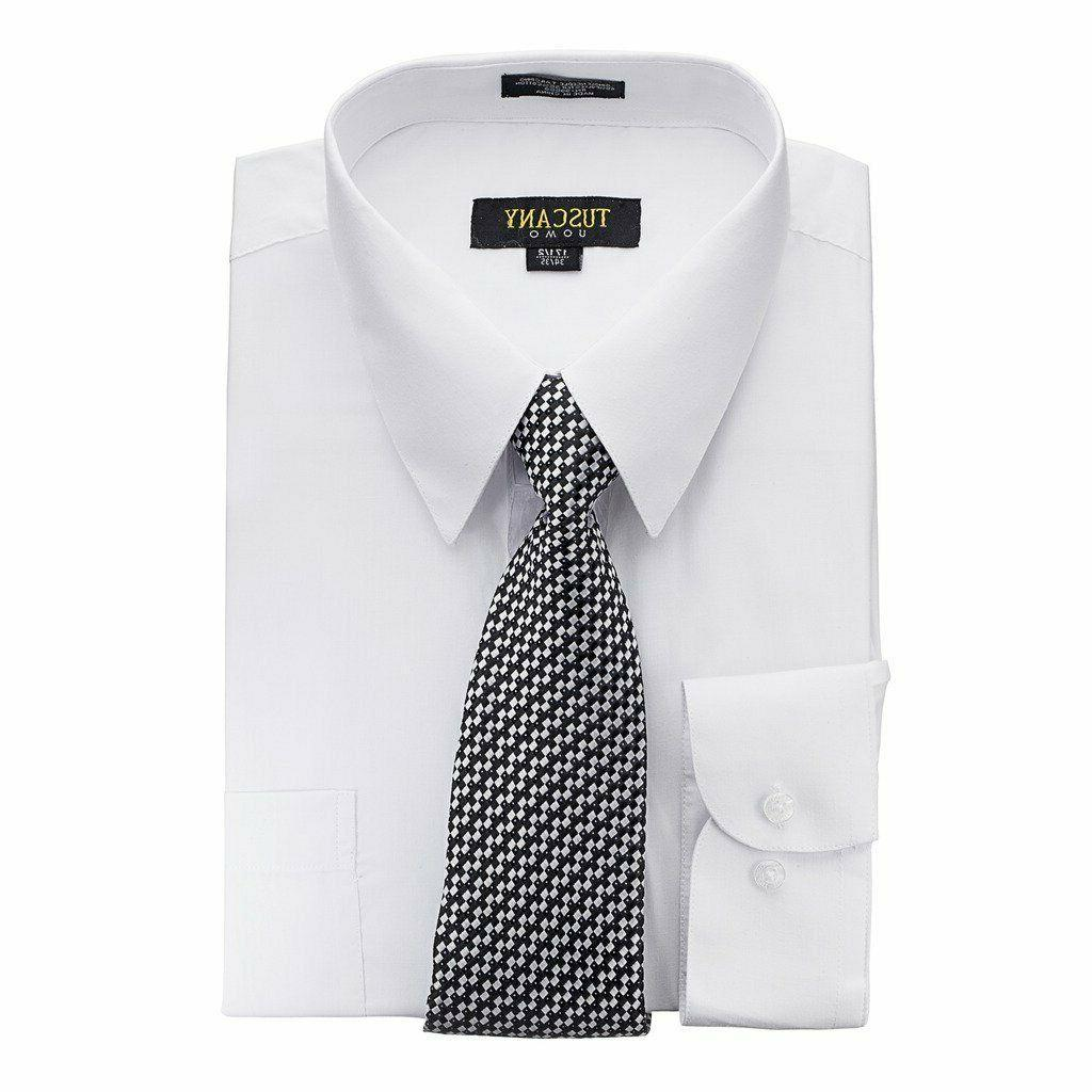 Men's Dress Shirts Matching Tie Blend Shirt with Tie