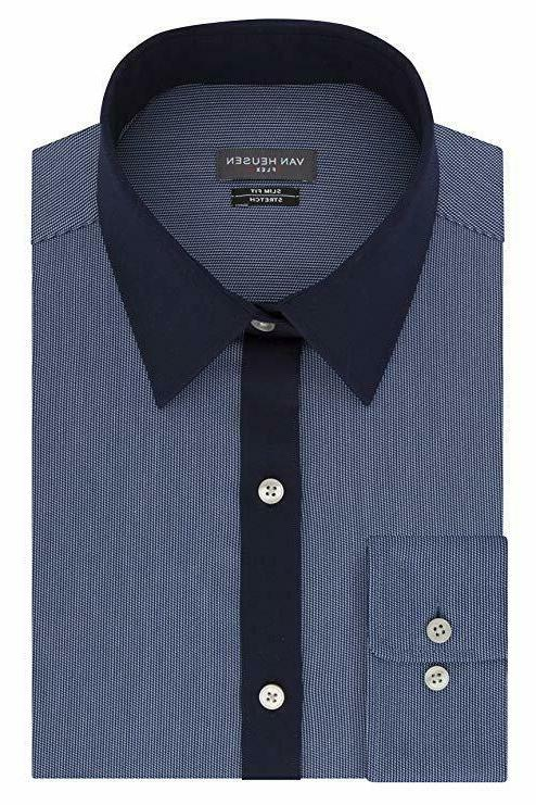 Van Heusen Men's Flex Collar Slim Fit Stretch Dress Shirt, D