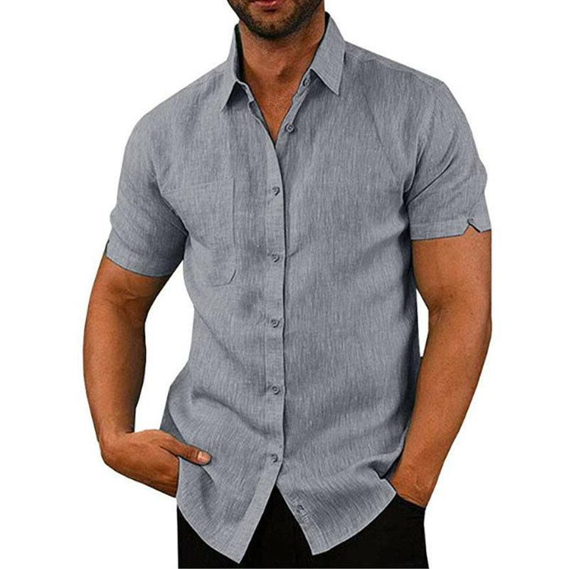 Mens Summer Solid Loose Dress Soft Tee US