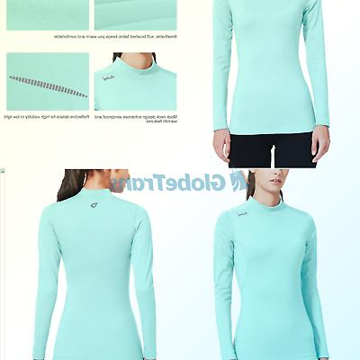 women s fleece thermal mock neck long