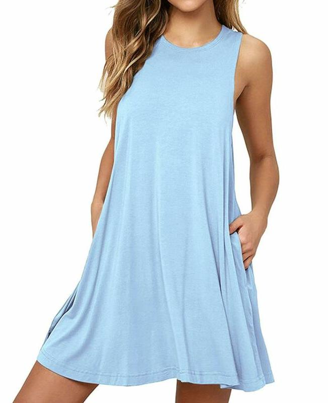 Himone Women'S Sleeveless Pocket Casual Loose T-Shirt Dress