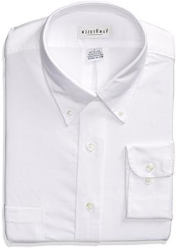 Van Heusen Men's Long Sleeve Oxford Dress Shirt, White, Larg
