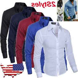 Luxury Fashion Men Slim Fit Shirt Long Sleeve Dress Shirts C
