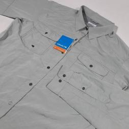 Columbia Men Large Casual Dress Shirt Gray Long Sleeve Butto