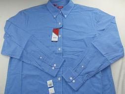 IZOD Men's Button Down Shirt Tall LT Blue White Classic Fit