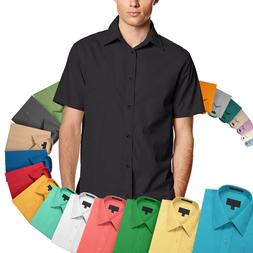 Men's Classic Fit Button Down Designer Short Sleeve Dress Sh