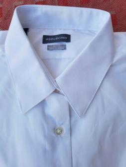 Van Heusen Men's Dress Shirt Fitted Size Large 16 x 36/37 Wh
