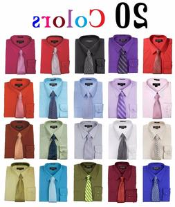 Men's Dress Shirts With Matching Tie Set Cotton Blend Shirt