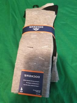 Dockers Men's Dress Socks 4 pair NWT Grays Black Striped Sol