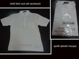 Men's Golf Shirt NWT White Short Sleeve No Iron Goodman Size