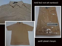 Goodman Men's Golf Work Dress Shirt Beige Short Sleeve No Ir