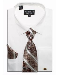 Men's New Luel Homme Ivory French Cuff Dress Shirt with Ivor