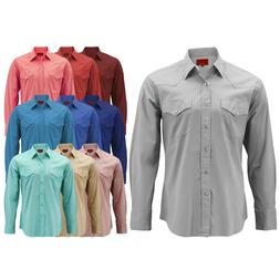 Men's Pearl Snap Button Long Sleeve Western Slim Fit Stretch