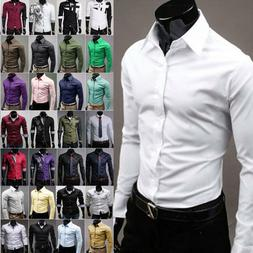 Men Luxury Formal Shirt Long Sleeve Slim Fit Business Casual