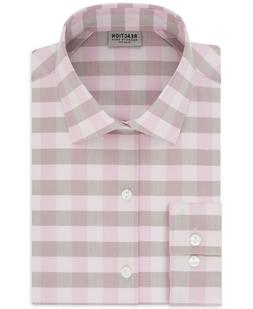 Kenneth Cole Reaction Men's Slim-Fit Check Dress Shirt Pink