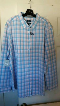 GEORGE MEN's Stretch Classic Fit Long Sleeve Button Down Col