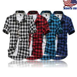Men's Summer Casual Dress Shirt Mens Plaid Short Sleeve Shir