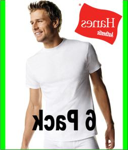 Hanes Men's White Crewneck T-Shirt 6-Pack Undershirt Tee TAG