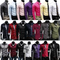 Mens Slim Business Shirt Long Sleeve Dress Shirts Casual Cot