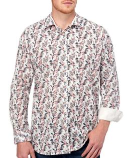 Tallia Mens Big and Tall Floral Button-Front Cotton Dress Sh