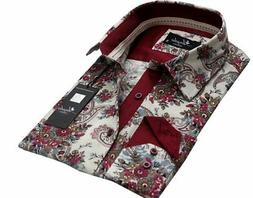 Mens Button Down Slim Fit Dress Shirt With Reversible Cuff I