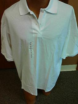 Mens Button-Up Collared Short Sleeve Polo Shirt NWT WHITE Si