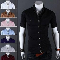 Mens Casual T-shirt Tops Short Sleeve Button Down Slim Fit D