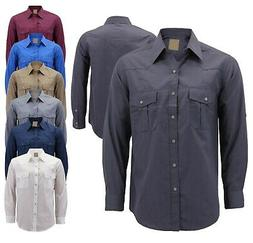Men's Casual Western Pearl Snap Button Down Long Sleeve Co