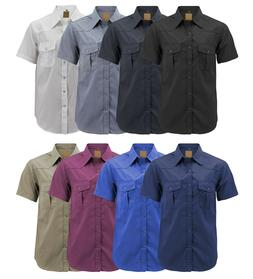 Men's Casual Western Pearl Snap Button Down Short Sleeve C