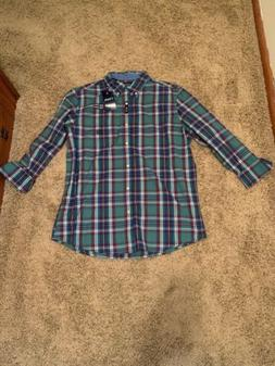 Mens Chaps Dress Shirt Large Easy Care Button Down Wrinkle R