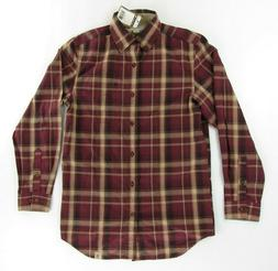 Carhartt Mens Dress Shirt S Red Plaid Long Sleeve Button Up