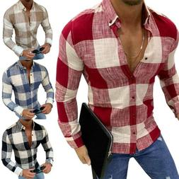 Mens Long Sleeve Button Down Plaid Casual Shirt Slim Fit For