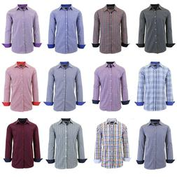 Mens Long Sleeve Slim-Fit Dress Shirts Casual Patterned Work